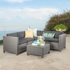 Make your outdoor living space as comfortable as the one indoors with this Chia Patio Wicker Sectional Sofa Set . This sectional sofa set includes a. Indoor Sunroom Furniture, Rattan Garden Furniture, Garden Sofa, Grey Furniture, Patio Furniture Sets, Rattan Sofa, French Furniture, Kids Furniture, Luxury Furniture