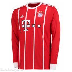 795fa4450  18 Eurojerseys Bayern Munich 2017-18 Home Long Sleeved Soccer Jersey  Football Shirt Fußball-