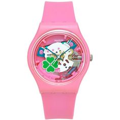 Swatch Unisex Swiss Flowerfull Pink Silicone Strap Watch 34mm GP147 (85 CAD) ❤ liked on Polyvore featuring jewelry, watches, pink, pink watches, pink jewelry, swatch jewelry, swatch wrist watch and unisex jewelry