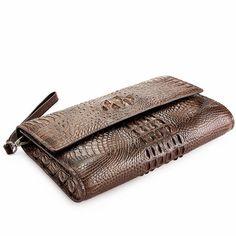 Men's Genuine Crocodile Wallet, Crocodile Envelope Flap Briefcase Purse Clutch Bag-Details