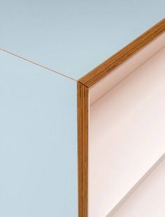 <p>Detail of the kitchen island showing the careful jointing of the…