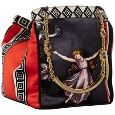 7f22200b5c05 Gianni Versace Couture Silk Velvet Canova Print Gold Chain Bag