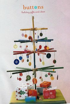 FROM Flickr.com: A Christmas tree made with buttons and Tinker Toys. There are no directions here, just this pic.