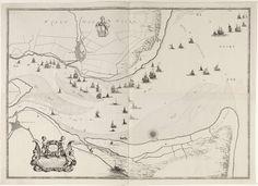 Jacob Quack | Kaart van de monding van de Maas, Jacob Quack, 1665 | Een kaart van de Maas, vertrekkende van Maassluis en Brielle tot aan haar monding in de Noordzee. Met de bestaande postroutes ter land en ter water. Links onder een ornamenteel kader met twee putti en een beschrijving van de kaart.