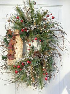 Image detail for -Country Christmas Primitive Winter Snowman Wreath www.etsy.com really like this a good DIY