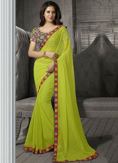 Green Kutch Work Chiffon Saree