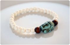 Bone Mala Stacking Bracelet with Turquoise Howlite by MadSkyandCo