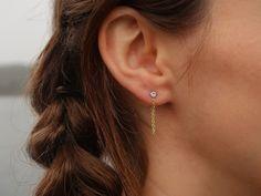 4 Prong CZ Diamond Stud Earring, Gold Chain Stud Earrings, Chain Loop Earrings, Dangling Earrings, Chain Loop Earrings, CZ Chain Earring