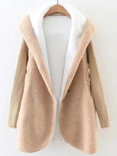Khaki Hooded Faux Shearling Coat With Knit Sleeve Ladies Hooded Coats, Coats For Women, Warm Coat, Winter Coat, Faux Shearling Coat, Diy Kleidung, Stylish Coat, Teddy Coat, Winter Jackets Women