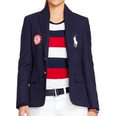 Polo Ralph Lauren Team Usa Ceremony Wool Blazer ($695) ❤ liked on Polyvore featuring outerwear, jackets, blazers, embroidered jacket, blue wool jacket, woolen jacket, logo jackets and wool jacket