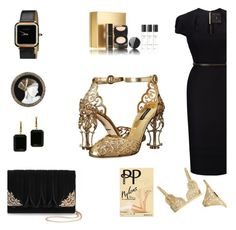"""""""Dress like you're on your way to the top"""" by onenakedewe ❤ liked on Polyvore featuring Dolce&Gabbana, Roland Mouret, Coco de Mer, La Regale, Erté, IWC Schaffhausen, Joan Hornig, Pretty Polly, Chanel and gold"""