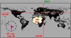 Cartina dei fusi orari con orologio riportante il Tempo Universale