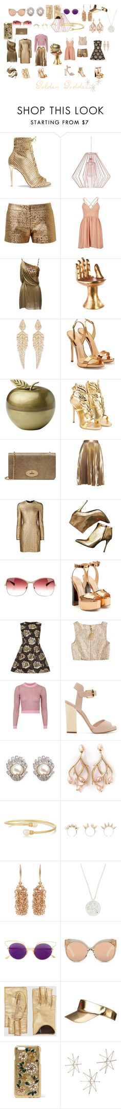 """Golden Goddess"" by zenobiaourania ❤ liked on Polyvore featuring Gianvito Rossi, Crystal Art, Lanvin, Versace, Pols Potten, Stephen Webster, Giuseppe Zanotti, Kate Spade, Mulberry and A.L.C."