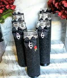 Grooms wedding centerpiece candle
