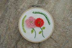 floral hand embroidery hoop art, vintage, retro, floral embroidery, decor wall art #etsy #shop #recklesscrush #wallart