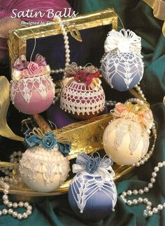 X420 Crochet PATTERN ONLY 6 Satin Ball Christmas Ornament Cover Pattern