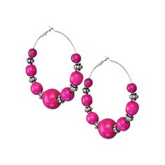 Pink Wooden Beaded Round Hoop Earrings Candy Luxx ❤ liked on Polyvore