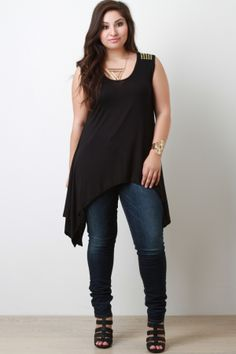 Asymmetrical Handkerchief Hem Round Studded Knit Sleeveless Top. Description This  top  features a rounded neckline, round studded design on shoulders, and asymmetrical handkerchief hemline. Accessories sold separately. Made in U.S.A. 95% Rayon, 5% Spandex.  Measurement   Size Bust Hem  Ft. Lth.  Bk. Lth.    1X 18 26  25  37    2X 19 28  25.5  37.5    3X 20  30  26  38