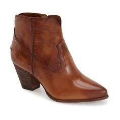"Frye 'Renee' Bootie, 2 1/2"" heel ($298) ❤ liked on Polyvore featuring shoes, boots, ankle booties, ankle boots, cognac leather, leather ankle boots, cognac leather booties, leather upper boots and short boots"