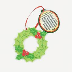 """Legend of the Christmas Wreath"""" Ornament with Poem Craft Kit ..."""