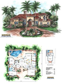 F2-3908 - Venetian House Plan - Mediterranean style two-story, 3,908 square feet of living area, 4 bedrooms, 4 full baths 1 half bath