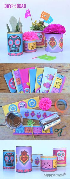 Printable can labels, paper flowers and DIY papel picado for a stunning Day of the Dead centrepiece! Printable templates, patterns and tutorials at happythought.co.uk