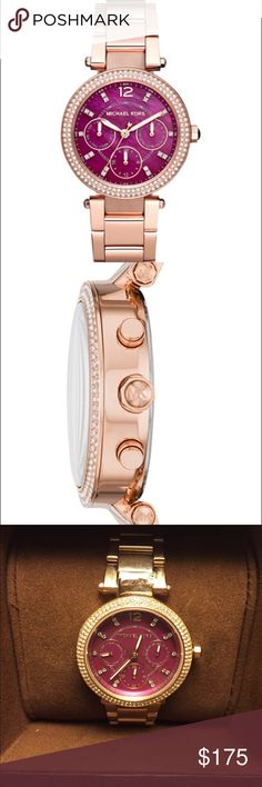 🆕Michael Kors Mini Parker Rose Gold Watch Authentic Michael Kors watch. Rose gold tone stainless steel case with a rose gold tone stainless steel bracelet. Fixed- crystal set bezel. Plum mother of pearl dial with rose gold-tone hands and index hour markers. Minute markers around the outer rim. Date display at the 3 o'clock position. Quartz movement. Scratch resistant mineral crystal. Pull / push crown. Solid case back. Case size: 33 mm. Case thickness: 11 mm. Round case shape. Band width…
