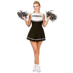 Ladies #black & white cheerleader fancy #dress up party halloween #costume outfit,  View more on the LINK: http://www.zeppy.io/product/gb/2/361059118277/