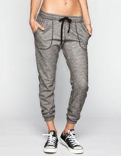 Full Tilt Marled French Terry Womens Jogger Pants Black/White  In Sizes