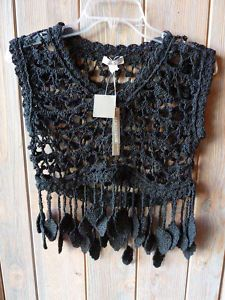 crocheted vest with leaf trim