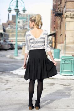stripe to with black skirt