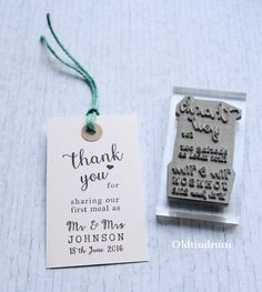 Wedding stamp. Thank you. UK. First meal. Mr & Mrs. Custom .