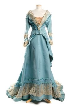 Sky blue silk faille dress, 1870s, designed and labeled by Mme. Gabrielle / Robes & Confections
