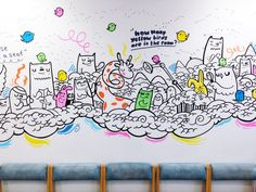 Geo Law is an illustrator in Sheffield, specialising in doodling office mural art works and graphic prints Wall Paint Patterns, Painting Patterns, Doodle Wall, Graffiti Doodles, Office Mural, Doodle Art Designs, Wall Drawing, Mural Wall Art, Graphic Prints