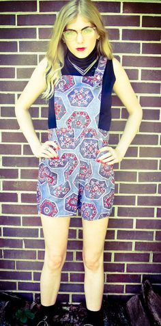 Vintage Handmade Yodelling Blue Red Abstract Geomtric Floral Paisley Over All Romper High Waisted Shorts. $37.00, via Etsy.
