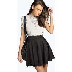 Boohoo Blue Susan Scallop Hem Scuba Skater Skirt ($14) ❤ liked on Polyvore featuring skirts, black, circle skirt, black bodycon skirt, pleated midi skirt, bodycon midi skirt and pleated skater skirt