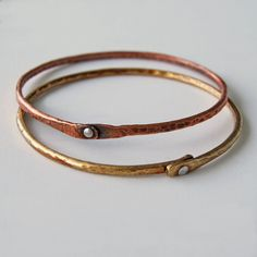 Mixed metal Bangles by cyndiesmithdesigns on Etsy, $20.00