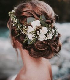 Beautiful floral head crown in blush spray roses and eucalyptus.
