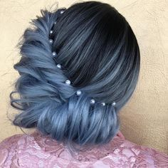 Ash blue Hair updo hairstyles with pearl accessories - Updo Hairstyles to try this summer – 14 different hair buns
