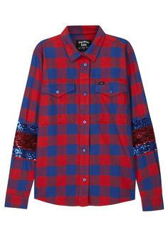 LEE 125 X FILLES � PAPA red and blue cotton twill shirt Checked, striped sequinned sleeve panels, two button fastening�breast pockets, box pleat at back 100% cotton