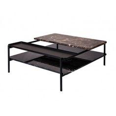 Table basse Bagnères Sylvain Willenz piètement métallique tout en finesse et simplicité. Cette légèreté permet de mettre l'accent sur les plateaux en marbre