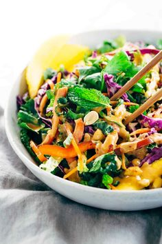 Crunchy Thai Salad Recipe with Creamy Peanut Dressing - Each bite is packs a powerhouse of fresh superfoods all in one irresistible bowl | jessicagavin.com
