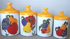 These are such colorful, cheerful vintage cannisters-from Pantry Queen-love that too.