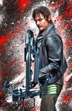 Walking Dead Daryl Dixon Norman Reedus with Crossbow 11 By 17 Print Signed By Donte Troy Painter, W/coa @ niftywarehouse.com