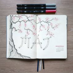 Bullet journal monthly cover page, May cover page, Cherry blossom tree drawing. | @plannerbynea