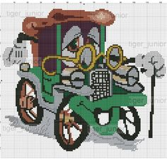 Vintage Car x-stitch Needlepoint Stitches, Needlework, Cross Stitch Designs, Cross Stitch Patterns, Cross Stitching, Cross Stitch Embroidery, Stitch Character, Easy Stitch, Canvas Designs