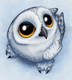 A beautiful drawing of Hedwig the owl of Harry Potter