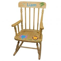 Personalized Natural Childrens Rocking Chair with Pink Tractor Design Tractors Childs girls Rocker s Rocking Chair Nursery, Childrens Rocking Chairs, Unique Baby Gifts, New Baby Gifts, Girl Gifts, Espresso Wood Stain, Baby Bumble Bee, Kids Furniture, Furniture Chairs