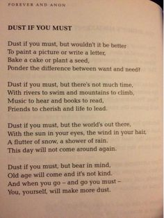 Dust if you must poem