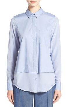 VINCE Layered Poplin & Silk Shirt. #vince #cloth #
